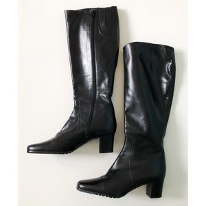 MODA DI FAUSTO 38 Italian Leather Black Heel Boots
